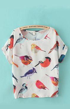 Short Sleeves Chiffon Birds Printed T-shirt