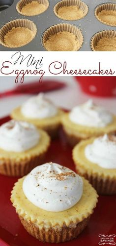 Mini Eggnog Cheesecakes Recipe! These are a fun bite-size Christmas Snack and Dessert Recipe for Holiday Parties!