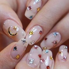 Nail Art Acrylic nails 40 Cute Star Nail Art Designs For Women 2019 - Page 24 of 40 - Chic Hostess Star Nail Art, Star Nails, Red Nails, Jewel Nails, Nail Pink, Green Nail, Korean Nail Art, Korean Nails, Cute Nails