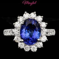 $8100 CERTIFIED 18K WHITE GOLD 3.00CT TANZANITE 1.05CT DIAMOND RING #MAYTAL #Cocktail