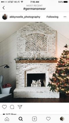 I'm in love, I'm in love, and I don't care who knows it! This German smear, brick fireplace is to die for!