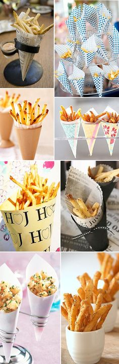 French fries served in cups and cones for cocktail hour