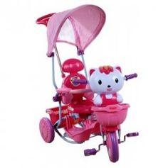 Rowerek sterowany trójkołowy Kotek różowy