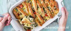voor 1,87 p.p. maak je deze lekkere hartige broodschotel met spinazie en ham.