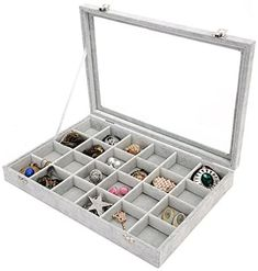 Amazon.com: PENGKE 24 Grid Velvet Jewelry Organiser Ring Display Box and Earrings Tray Holder Storage Case,Gray Pack of 1: Home & Kitchen Jewelry Tray, Jewelry Holder, Jewellery Storage, Jewellery Display, Jewelry Organization, Earring Storage, Earring Display, Ring Displays, Jewelry Showcases
