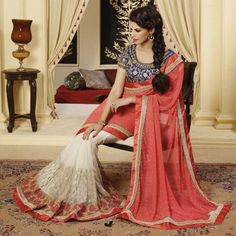 Georgette Pink & Off White Embroidered Half & Half Saree - DIP3208