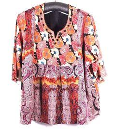 ULLA POPKEN Plus Size 32/34 Blouse Boho Hippy Floral Paisley Beaded Fully Lined #ULLAPOPKEN #Blouse #Career
