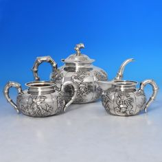 B0887: Antique Foreign Silver Three Piece Tea Set - Wang Hing Made Circa 1900 Unknown - Victorian - Image 1