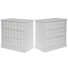 Pair of Raised Geometric Chests/ Bedside Tables