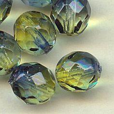 16194 Olive/Capri Fire Polished Crystal Beads, 8mm, 10
