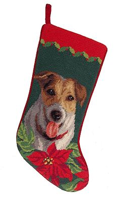 This charming stocking is sure to delight any dog lover in your life. This one features a Jack Russell Terrier and is done in wool needlepoint. A lovely addition to your Christmas decor and a must for the family Jack Russell. Dog Christmas Stocking, Needlepoint Christmas Stockings, Rat Terriers, Terrier Dogs, Westies, Parsons Terrier, Chihuahua Love, Jack Russell Terrier, Fur Babies