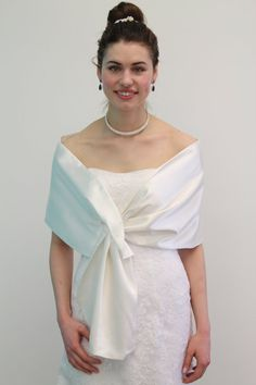 Silk Feel Satin Reversible Bridal Wrap Wedding Stole by TionDesign, $19.99