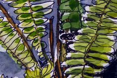 Pen and wash ferns - detail.    All artwork is copyright Karen Smith.