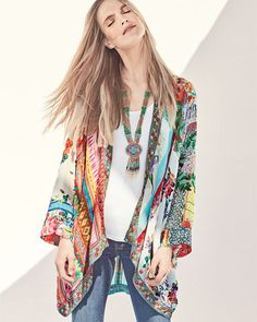 Johnny Was Scarf-Print Georgette Kimono Jacket, Petite Kimono Outfit, Kimono Jacket, Kimono Fashion, Fashion Outfits, Fashion Tips, Fashion Trends, Womens Fashion, Ladies Fashion, Hijab Fashion
