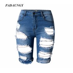 18.75$  Buy now - http://alilo7.shopchina.info/1/go.php?t=32693721203 - PADAUNGY Summer Ripped Jeans Women Hole Jeggings Knee Length Denim Short Pants High Waist Torn Jeans Pantalones Mujer Plus Size  #bestbuy
