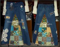 Hippie Harvest 2.0 Jean Skirt with handmade by CustomJeanSkirts