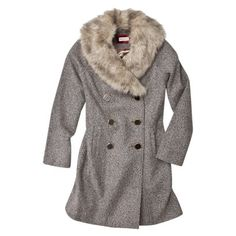Merona Double-breasted Coat With Removable Faux Fur Collar -