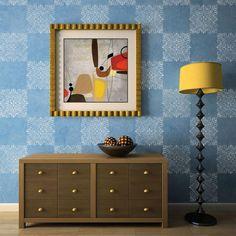 Tile stencil repeated in checkerboard pattern on a wall | Villa Tile Wall Stencil | http://www.royaldesignstudio.com/