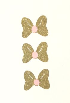 Minnie Mouse Inspired Gold and Pink Bows Paper Cut Outs