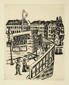 """Max Beckmann  Leipzig 1884 – 1950 New York     """"HOLZBRÜCKE""""  1922. Drypoint on wove paper.   29,1 x 23,2 cm (46,9 x 34 cm) (11 ½ x 9 ⅛ in. (18 ½ x 13 ⅜ in.))"""