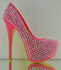 Alba Marisol Coral Pink Iridescent Rhinestone Jewel Evening Party Shoe Pump 7-11