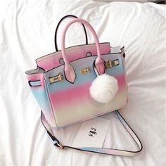 Sweet gradient rainbow bag · Fashion Kawaii [Japan & Korea] · Online Store Powered by Storenvy Backpack Purse, Purse Wallet, Crossbody Bag, Satchel, Louis Vuitton Handbags, Purses And Handbags, Rainbow Bag, Cute Purses, Cute Bags