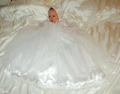 Sarah Louise 119 White Tulle Christening Gown and Bonnet set (also comes in Ivory) Baptism Gown, Christening Gowns, Romper Outfit, White Tulle, Baby Pictures, Special Occasion Dresses, Communion, Flower Girl Dresses, Wedding Dresses