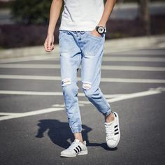 Find More Jeans Information about Casual Jeans Men Knee Hole Personality Pockets Denim Ankle Length Ripped Jeans 2016 Korean Slim Fit Drawstring Men Joggers Pants,High Quality jean capri pants,China jeans patchwork Suppliers, Cheap jean coat from Eric's on Aliexpress.com