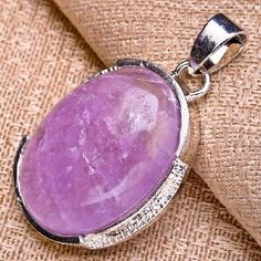 NATURAL AMETHYST GEMSTONE PENDANT 925 SILVER PLATED OVER SOLID COPPER