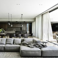 Sofa is by Living Divani - 'Extrasoft'. Designed by Workroom and built by Agushi, Kooyong House in Melbourne's Toorak is an urban oasis with architecture and interiors working together seamlessly Home Living Room, Living Room Decor, Living Spaces, Dining Room, Dining Tables, Coffee Tables, Living Area, Kitchen Dining, Apartment Couch