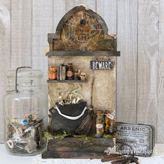 Beware The Witches Kitchen Halloween Mixed Media by Juliana Michaels featuring Tim Holtz products Halloween Paper Crafts, Halloween Items, Halloween Projects, Halloween Skull, Halloween Cards, Halloween Decorations, Halloween 2019, Halloween Tombstones, Halloween Pumpkins