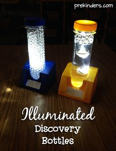 Illuminated Discovery Bottles using submersible lights, water beads and jumbo test tubes Preschool Science, Science Classroom, Science For Kids, Preschool Crafts, Baby Sensory, Sensory Toys, Sensory Activities, Activities For Kids, Science Projects