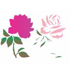 Estêncil para Pintura Simples 20x25 Flor Rosa OPA1881 - Opa - PalacioDaArte