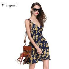 Summer Beach Style Tank Dress Women Countryside European Printed High Waist Mini Dress V-Neck - Yeap Pins! Womens Fashion For Work, All Fashion, Trendy Fashion, Boho Fashion, Fashion Outfits, Fashion Themes, Affordable Clothes, Summer Trends, Tank Dress