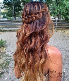 long boho braided hair, brunette ombre