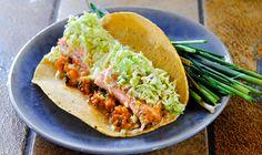 Salmon Fish Tacos with Sweet Potato Puree