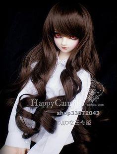 """1//3 bjd 8-9/"""" doll head beige blonde curly wig dollfie Luts Iplehouse JD311L"""