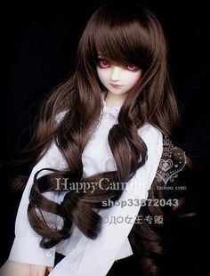 """1/3 8-9"""" Dal.Pullip.BJD.SD LUTS supper dollfie Doll brown long wig hair toy gift"""