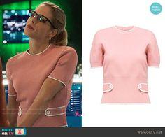 Felicity's pink buttoned back sweater on Arrow.  Outfit Details: https://wornontv.net/70509/ #Arrow