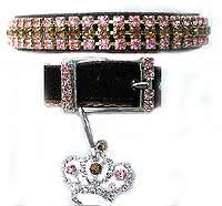 Chocolate and pink crystal dog collar, glitter 4 your critter