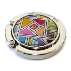 Mother of Pearl Colorful Patchwork Luxury Foldable Round Table Purse Handbag Bag…