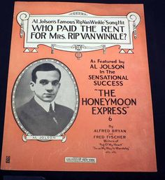 Sheet Music Deco Art Who Paid The Rent For Mrs. Rip Van Winkle Honeymoon Express