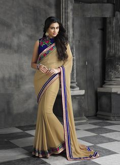 Buy saree online. Customization and free shipping worldwide. Modern faux chiffon classic designer saree for party and wedding.