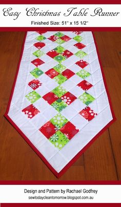 Christmas Table Runner, quilted potholders, mitten, drawstring bag, and more - quick and easy Christmas gifts and projects. Table Runner And Placemats, Table Runner Pattern, Quilted Table Runners, Quilted Christmas Gifts, Christmas Sewing, Quilted Gifts, Christmas Placemats, Christmas Poinsettia, Christmas Patterns