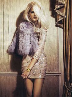 Luscious gold sequin dress with Lavender faux fur