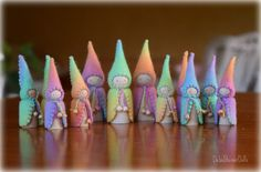 Felt Rainbow gnome double  set by by DebsSteinerDolls on Etsy