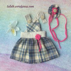 """OOAK Waldorf doll dress / Doll clothes / Outfit for 16"""" 17"""" 18"""" dolls /  Bib dress for a doll / Doll's dress / Dungarees for doll / For doll"""
