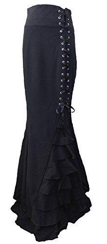 -Rainy Night in London- Black Victorian Gothic Ruffle Steampunk Vintage Style Skirt (Medium, Black)