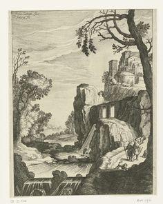 Simon Frisius | Landschap met Tobias en aartsengel Rafaël, Simon Frisius, 1595 - 1628 | Tobias en de aartsengel Rafaël lopen langs een rivier. Ze worden vergezeld door een hond. Op de achtergrond ligt een dorp op een heuvel.