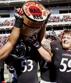 Keg of Nails  Battle for the Keg of Nails  Cincinnati Bearcats vs. Louisville Cardinals     Trophy introduced in 1929.